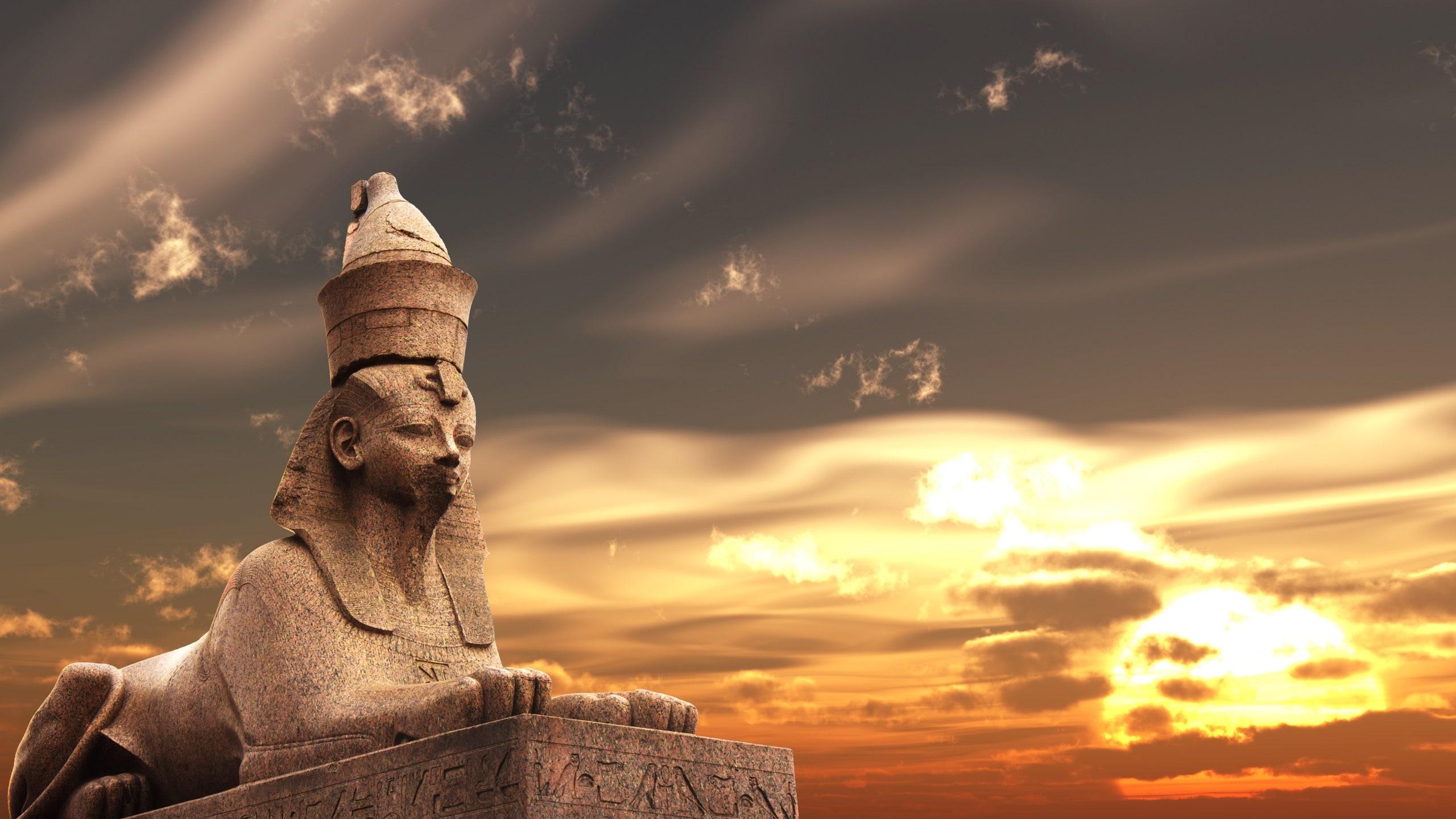 Egyptian Sphinx on sunset sky background