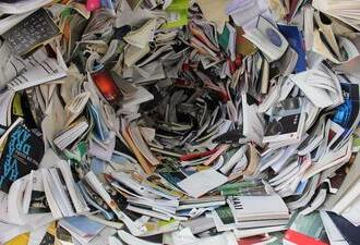 clutter of books and papers