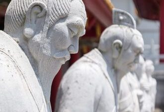 72 followers statues of Confucian temple in Nagasaki, Japan. It's a temple devoted to the memory of Confucius. This is the worlds only Confucian temple built outside China by Chinese hands.